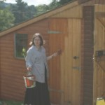 Emma painting shed
